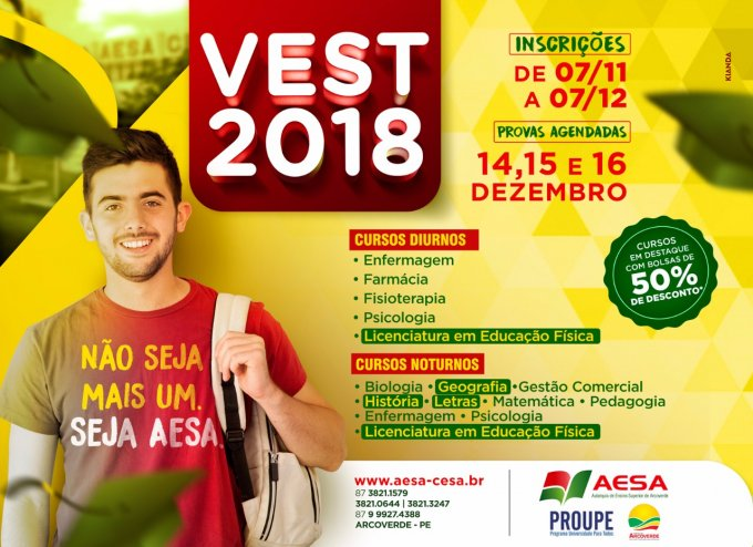 Arcoverde: Inscrições abertas para o vestibular 2018 da Aesa